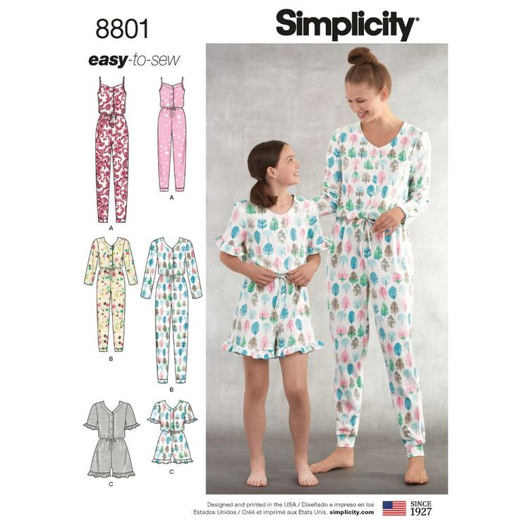 Simplicity Pattern 8801 Girls' and Misses' Knit Jumpsuit and Romper