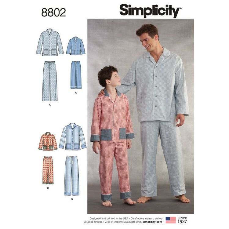 Simplicity Pattern 8802 Boys' and Men's Lounge Pants and Shirt