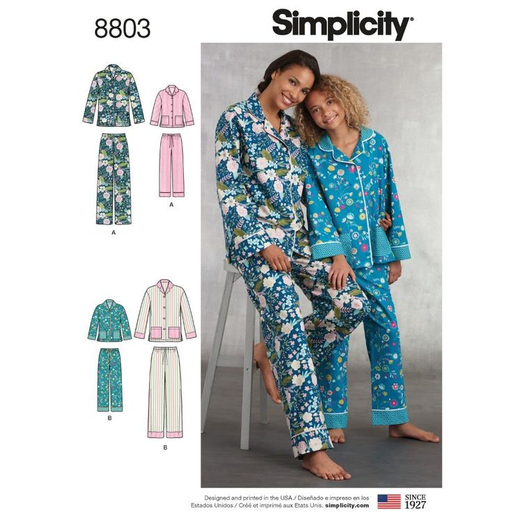 Simplicity Pattern 8803 Girls' and Misses' Lounge Pants and Shirt