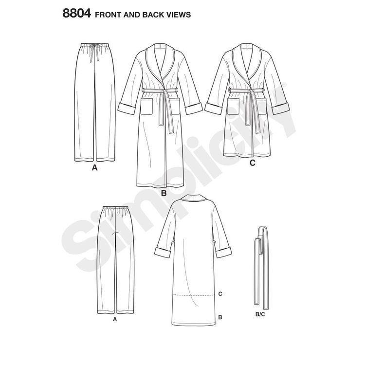 Simplicity Pattern 8804 Women's Plus Size and Men's Robe and Pants