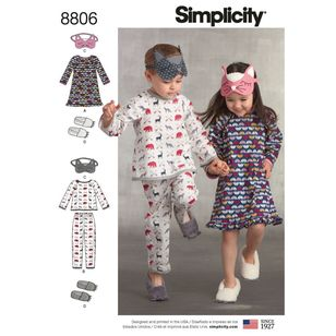 Simplicity Pattern 8806 Children's Dress, Top, Pants, Eye Mask, and Slippers