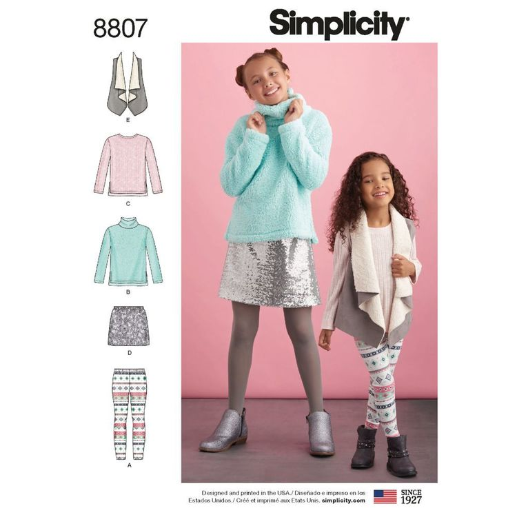Simplicity Pattern 8807 Children's and Girls' Sportswear