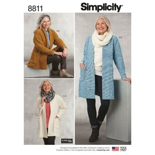 Simplicity Pattern 8811 Misses' Knit Sweater, Scarf & Headband