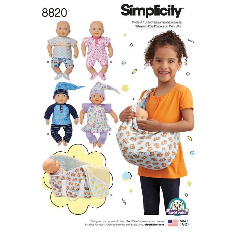 "Simplicity Pattern 8820 15"" Baby Doll Clothes & Accessories"