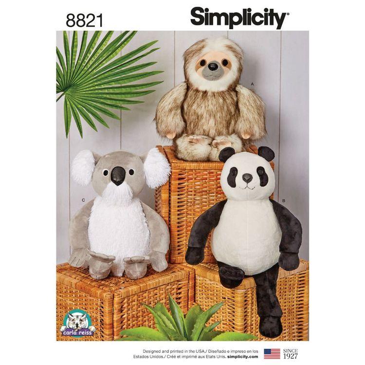 "Simplicity Pattern 8821 15"" Stuffed Animals"