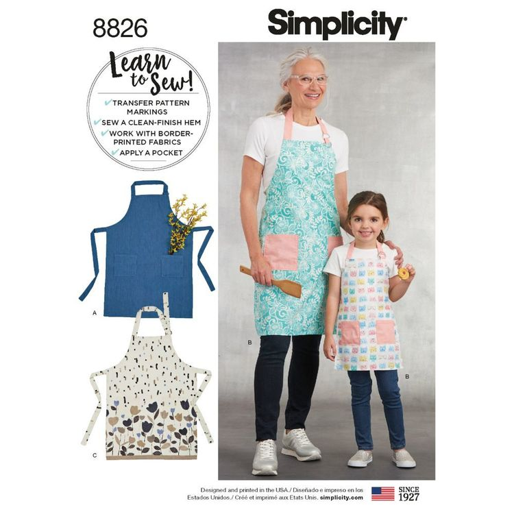 Simplicity Pattern 8826 Children's and Misses' Aprons