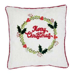 Living Space Festive Wreath Embroidered Cushion