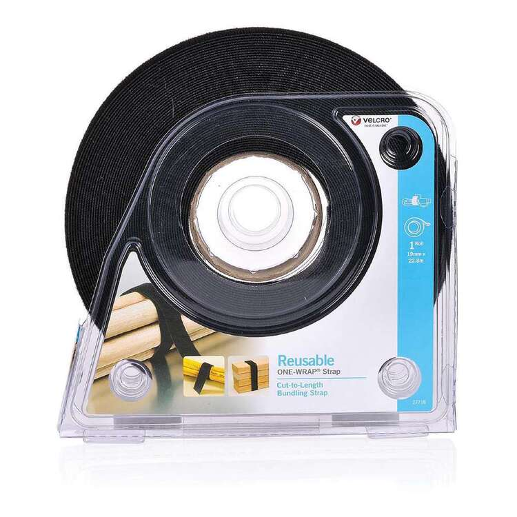 VELCRO Brand Reusable ONE-WRAP Tape Black 9 mm