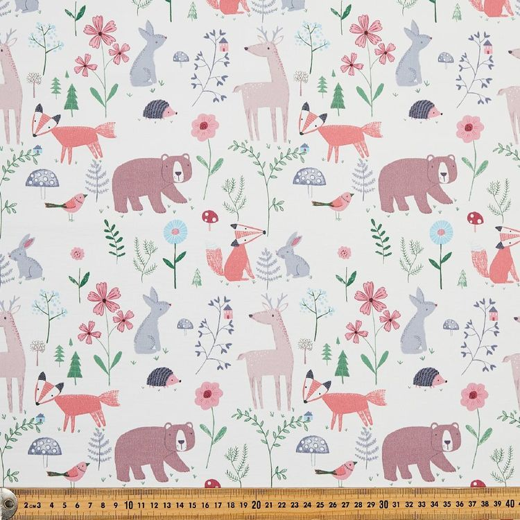 Happy Woods Animal Blockout Kids Curtain Fabric