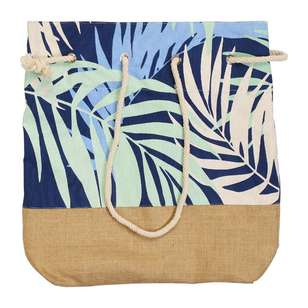KOO Palm Blue Hessian Beach Bag