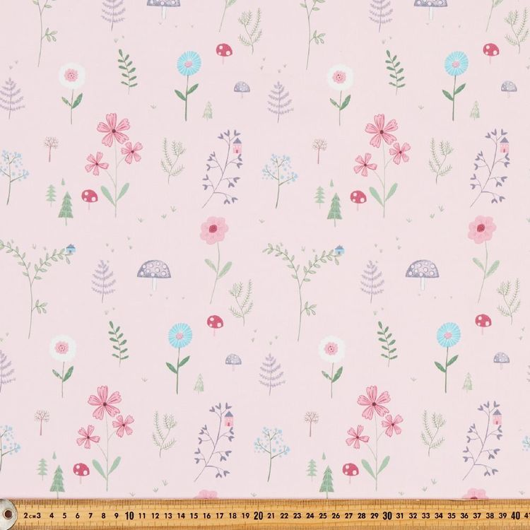 Happy Woods Coord Blockout Kids Curtain Fabric Pink 145 cm