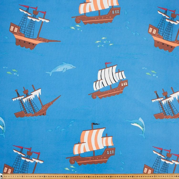 Happy Pirates Blockout Kids Curtain Fabric Blue & Multicoloured 145 cm