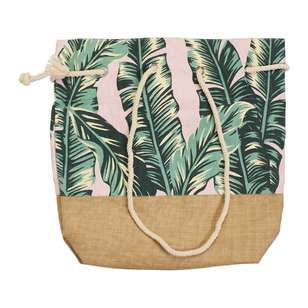 KOO Palm Hessian Beach Bag