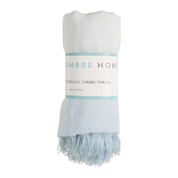 Ombre Home Weathered Coastal Ombre Throw Blue & White 127 x 152 cm