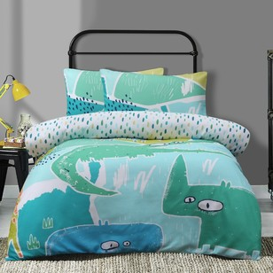 Ombre Blu Jungle Quilt Cover Set