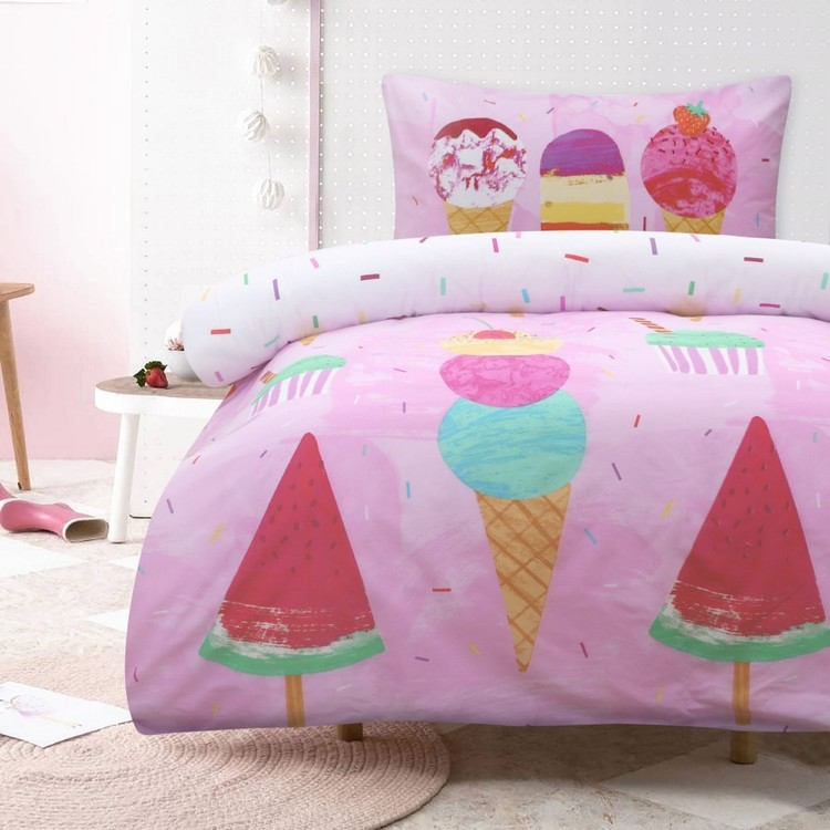 Kids House Rainbow Ice Cream Quilt Cover Set Pink
