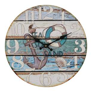 Cooper & Co European Holiday Sea Sun Surf Wall Clock
