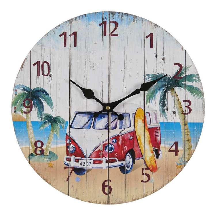 Cooper & Co Life Beach Van Wall Clock Multicoloured 34 cm