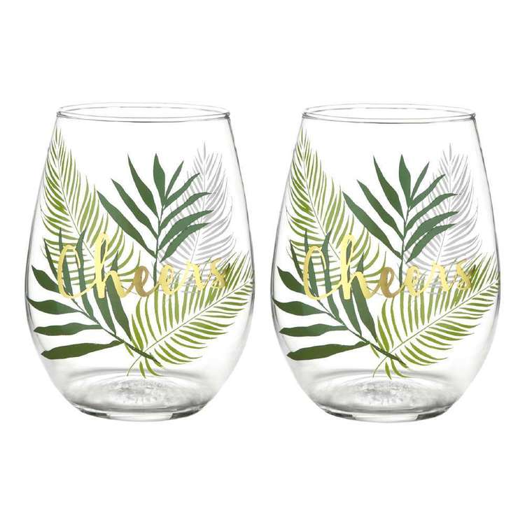 Bouclair Tropica Set Of 2 Palm Print Glass Clear Green & Gold 8 x 12 cm