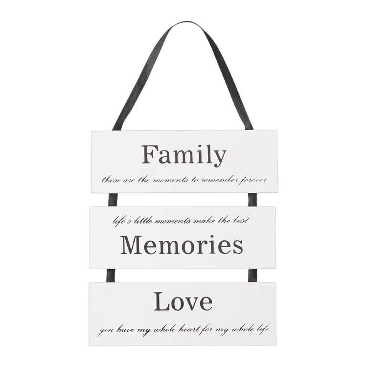 Living Space Family Love Memories Wall Plaque White 20 x 23 cm