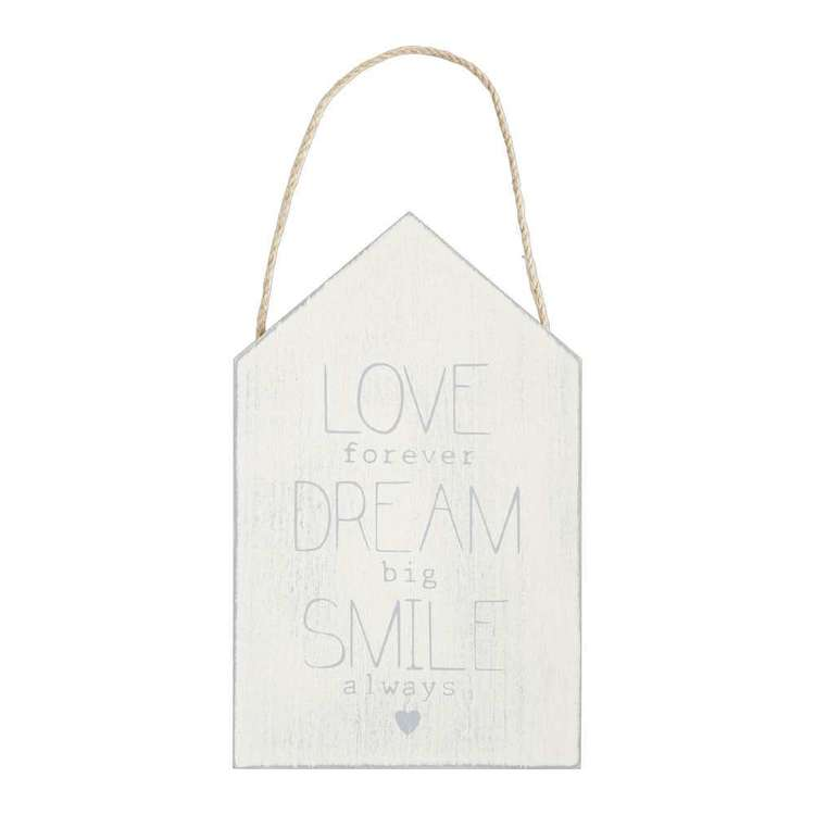 Living Space Love Dream Smile Wall Plaque White 15 x 24 cm