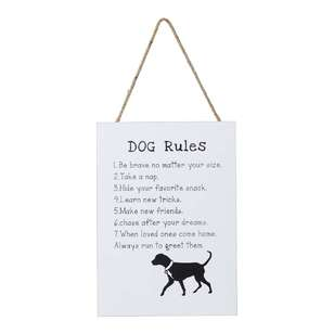 Living Space Dog Rules Wall Plaque
