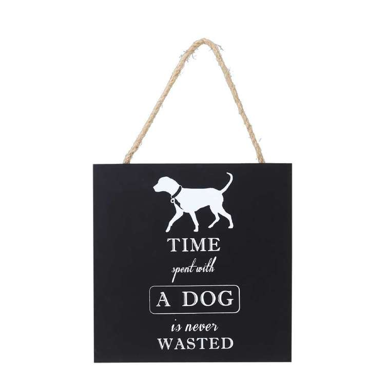 Living Space Dog House Wall Plaque Black 20 x 20 cm