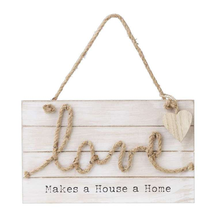 Living Space Love Wall Plaque With Rope Natural 25 x 15 cm