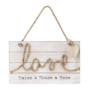 Living Space Love Wall Plaque With Rope