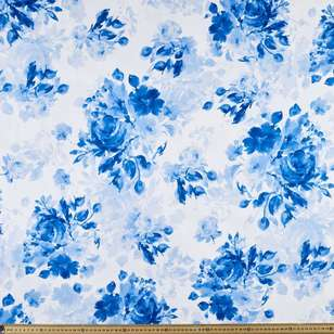 Blue Rose Printed Cotton Sateen Fabric