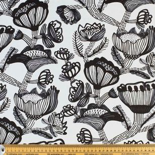 Kirsten Katz Monochrome Flowers Curtain Fabric