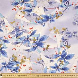 Oriental Blues Printed Cotton Linen Fabric