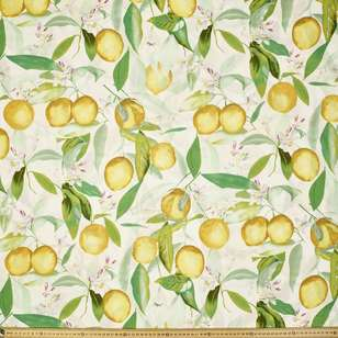 Lemon Drop Printed Cotton Linen Fabric