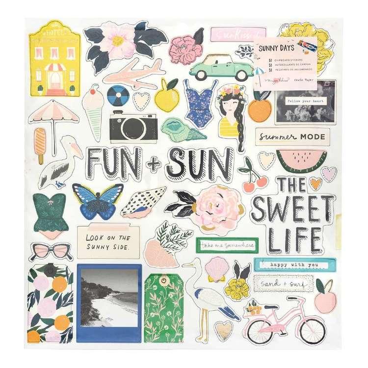 American Crafts Maggie Holmes Sunnydays Chipboard Stickers