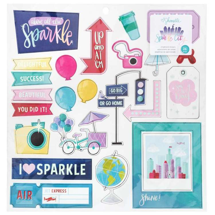 American Crafts Shimelle Sparkle City Chipboard Stickers Multicoloured