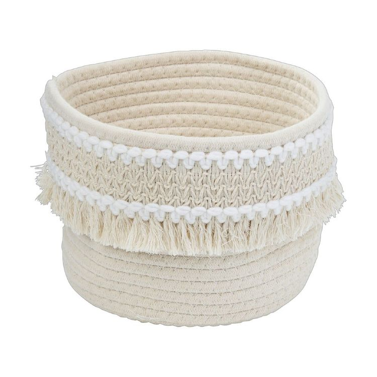 Ombre Home Weathered Coastal Rope Basket With Fringe