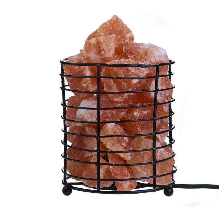 Living Space Salt Pillar Basket Lamp Pink 14 x 17 cm