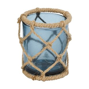 Ombre Home Weathered Coastal Tea Light Candle Holder With Rope