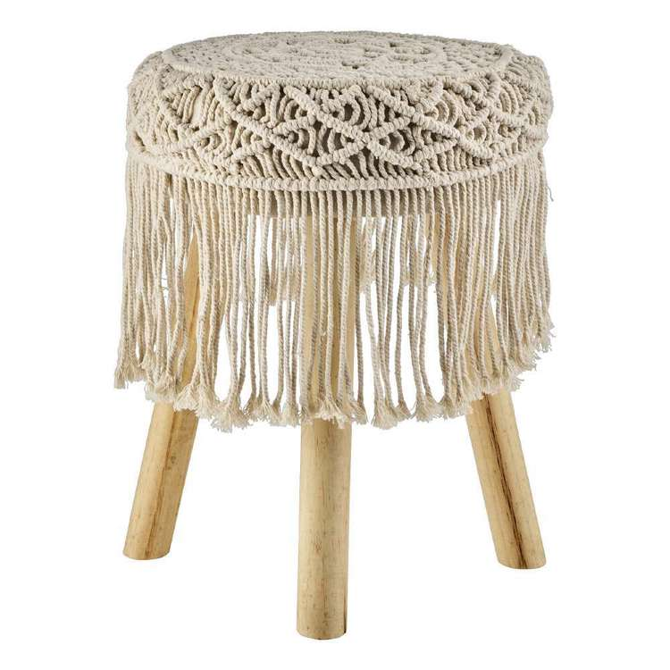 Ombre Home Weathered Coastal Macrame Footstool With Fringes