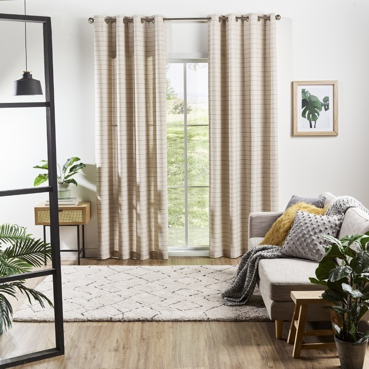 Love From Europe Collection London Eyelet Curtains Linen Black