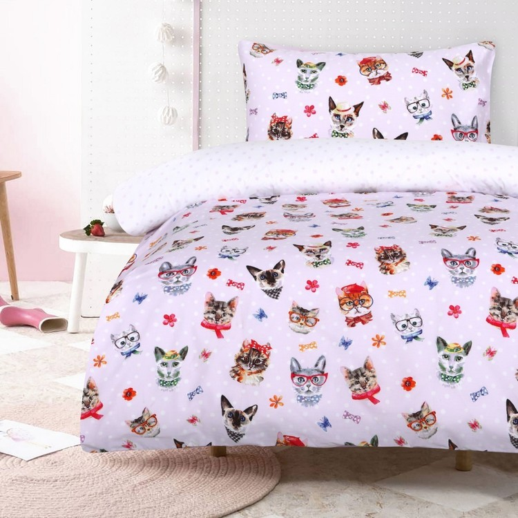 Kids House Cats Quilt Cover Set