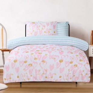 Ombre Blu Art School Hearts Quilt Cover Set