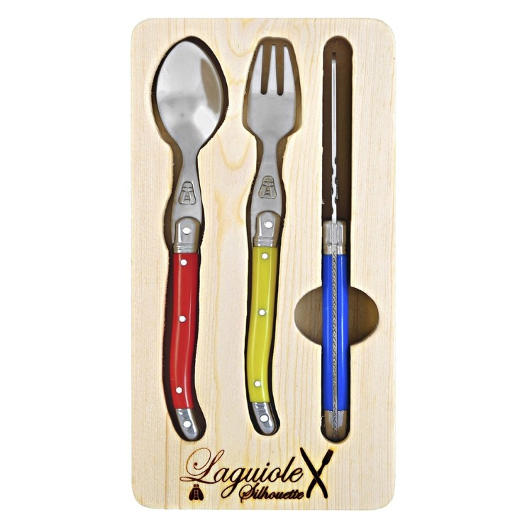 Laguiole Silhouette Kids 3 Piece Cutlery Set Multicoloured