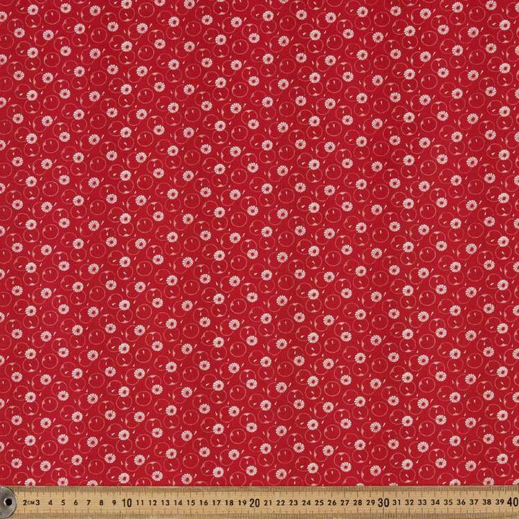 Washington St Studio Temperance Red Daisy Dots Cotton Fabric
