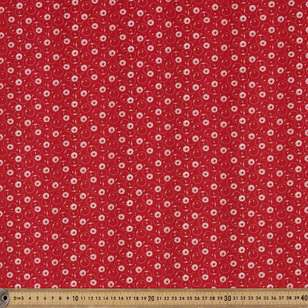Washington St Studio Temperance Red Daisy Dots Cotton Fabric