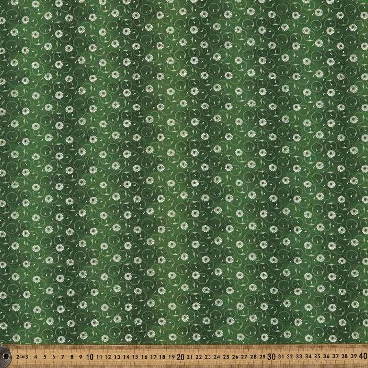 Washington St Studio Temperance Green Daisy Dots Cotton Fabric