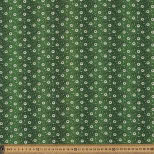 Washington St Studio Temperance Green Daisy Dots Cotton Fabric