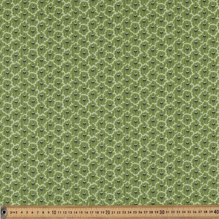 Washington St Studio Temperance Green Deco Stripe Cotton Fabric