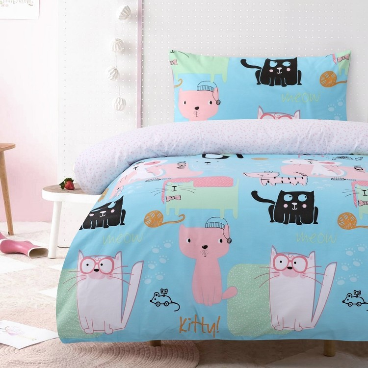 Kids House Kitty Playground Quilt Cover Set