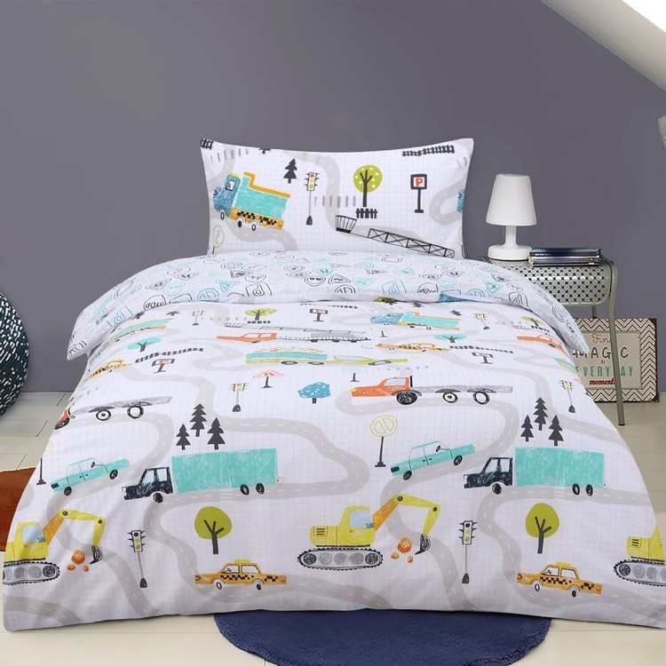 Kids House Truck Dreams Quilt Cover Set Multicoloured